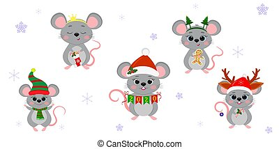 dessin animé, année, fond, style, plat, nouveau, ensemble, accessoires, snowflakes., souris, rats, différent, vecteur, 2020., vacances, mignon, costumes, noël, cinq