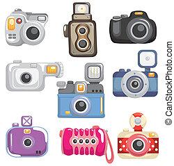dessin animé, appareil photo, icône
