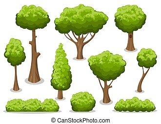 dessin animé, arbre, buisson, ensemble