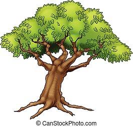 dessin animé, arbre