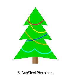 dessin animé, arbre, noël, coloré, hiver