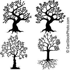 dessin animé, arbre, silhouette
