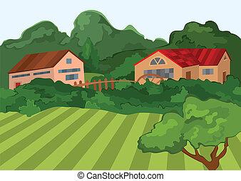dessin animé, arbres, vert, maisons, champ, village