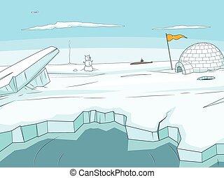 dessin animé, arctique, fond, vecteur