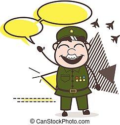 dessin animé, armée, homme, à, parole, bulles, vecteur, illustration
