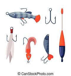 dessin animé, artificiel, rotation, ensemble, leurres, peche, vecteur, crankbait, accessoires, plastique, illustration