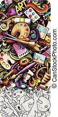 dessin animé, artiste, main, détaillé, banner., griffonnage, dessiné, illustrations.
