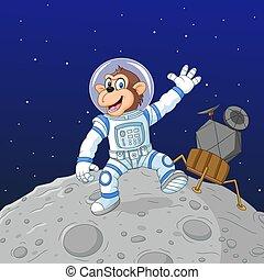 dessin animé, astronaute, singe, lune