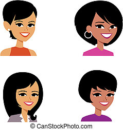 dessin animé, avatar, illustration portrait, femmes