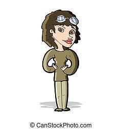 dessin animé, aviateur, femme