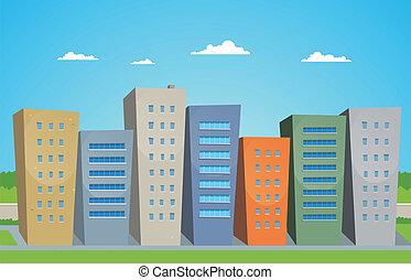 dessin animé, bâtiments