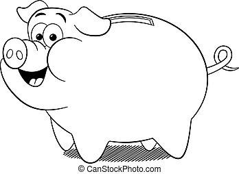 dessin animé, banque, porcin