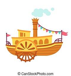dessin animé, bateau, bateau vapeur
