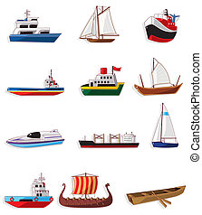 dessin animé, bateau, icône