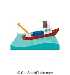 dessin animé, bateau pêche, icône