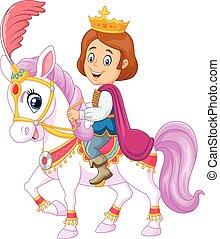 dessin animé, beau, prince, équitation