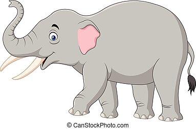 dessin animé, blanc, isolé, fond, éléphant
