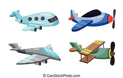 dessin animé, blanc, style., avions, illustration, arrière-plan., vecteur, ensemble