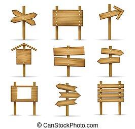 dessin animé, bois, poteaux indicateurs