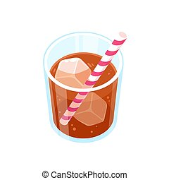 dessin animé, boisson, verre, soude