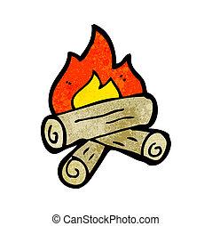 dessin animé, brûlé, bois, journaux bord