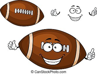 dessin animé, brun, balle rugby, mascotte, caractère