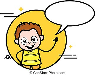 dessin animé, bulle, jeune, bavarder, garçon