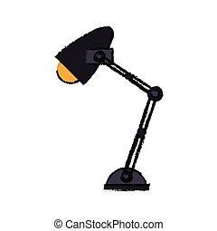 dessin animé, bureau bureau, lampe, lumière jaune, icône