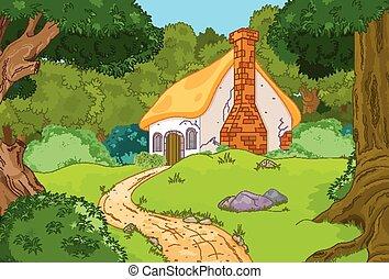 dessin animé, cabine, forêt
