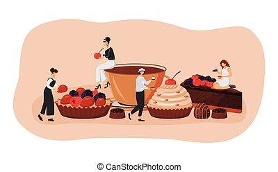 dessin animé, café, framboise, patisserie, illustration., fraise, chocolat, 2d, idée, caractères, créatif, nourriture, prime, visiteurs, vecteur, concept, plat, design., tart., toile, patisserie, gâteau, slice.