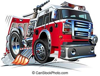 dessin animé, camion feu