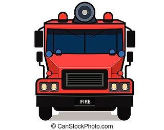 dessin animé, camion feu, isolé, blanc