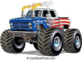 dessin animé, camion, monstre