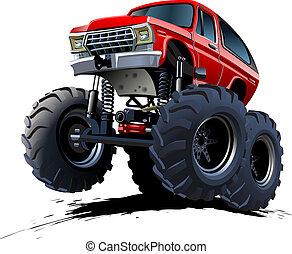 dessin animé, camion monstre