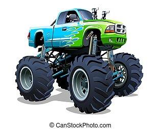 dessin animé, camion monstre, vecteur
