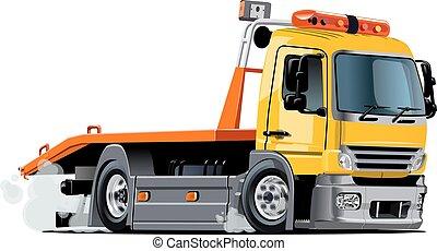 dessin animé, camion, remorquage