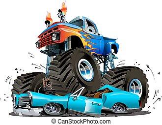 dessin animé, camion, vecteur, monstre