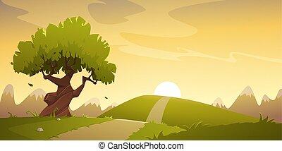 dessin animé, campagne, paysage