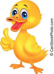 dessin animé, canard, haut, pouce