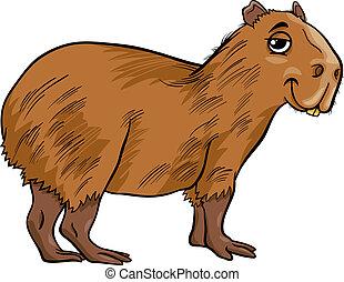 dessin animé, capybara, illustration, animal