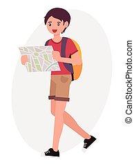 dessin animé, caractère, conception, mâle jeune, garçon, randonneur, montre, carte, rechercher, les, manière