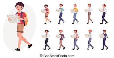 dessin animé, caractère, conception, mâle jeune, garçon, randonneur, montre, carte, rechercher, les, manière, collection