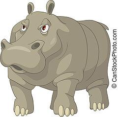 dessin animé, caractère, hippopotame