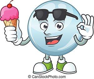 dessin animé, caractère, mignon, crème, gouttelettes, glace...