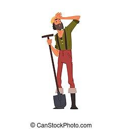 dessin animé, caractère, prospecteur, vendange, or, vêtements, porter, debout, mâle, pelle, style, barbu, vecteur, illustration, mineur