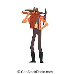 dessin animé, caractère, prospecteur, vendange, or, vêtements, porter, debout, mâle, style, pic, barbu, vecteur, illustration, mineur