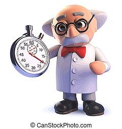 dessin animé, caractère, scientifique, fou, chronomètre, tenue, 3d