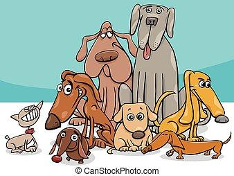 dessin animé, caractères, chien