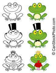 dessin animé, caractères, grenouilles, mignon