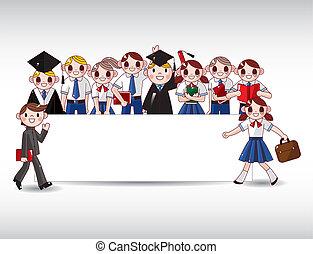 dessin animé, carte, étudiant